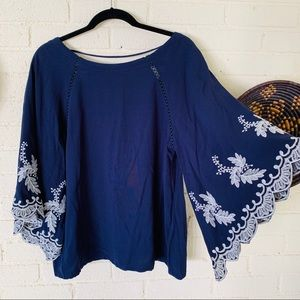 She + Sky Embroidered Bell Sleeve Boho Top